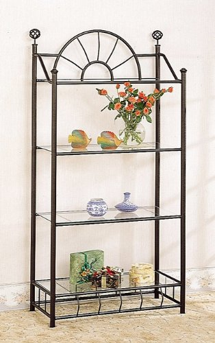 &quot;sunburst&quot; Design Wrought Iron Style 4 Tier Rack / Bookcase With Glass Shelves
