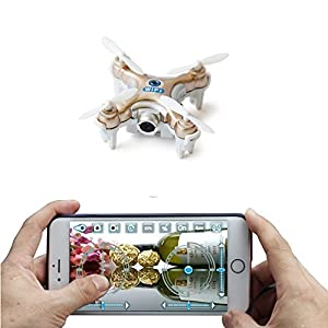 ZV RC WIFI FPV Nano Drone With Camera Super Mini Quadcopter with Camera Control by iPhone And Android SmartPhone (Gold)