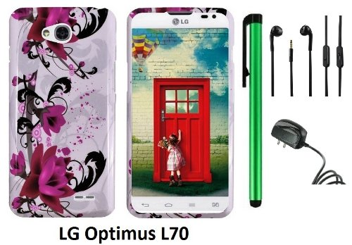 Lg Optimus L70 (Ms323) Premium Pretty Design Protector Hard Cover Case + Travel (Wall) Charger + 3.5Mm Stereo Earphones + 1 Of New Assorted Color Metal Stylus Touch Screen Pen (A String Of Straight Red Flower On White)