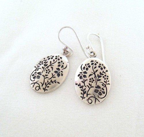 Flowers & Vines Oval Sterling Earrings