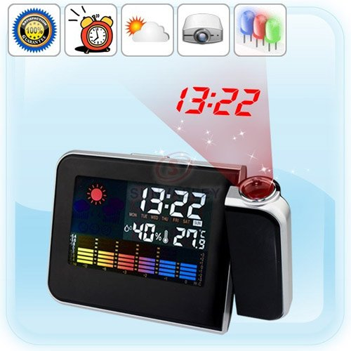 Metro Shop Temperature Weather Station Projection Clock With Led Backlight & Color Display-Black