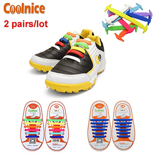 Coolnice 2 Pairs No Tie Shoelaces for Kids Funny DIY 212pcs- Elastic Stretch Environmentally Safe silicone - Lazy Shoestrings- 2 Colors (Zapatos Good Year compare prices)