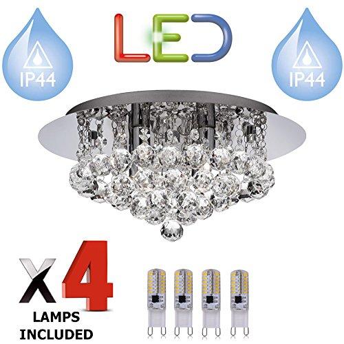 MODERNE BADEZIMMER, IP44-DECKENLEUCHTE, 4-FLAMMIG, MIT CHROM-RÜCKPLATTE UND 4 X 3W LED, ENERGIESPAR-LAMPEN 4404-4CC LED. VERSION