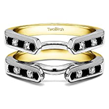 buy 1/5 Ct. Black And White Diamonds Channel Set Cathedral Style Ring Guard In 10K Two Tone Gold (0.2 Ct. Twt.)