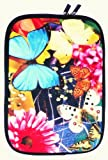 Flash Superstore Butterfly Garden Water Resistant Neoprene Soft Zip Case/Cover suitable for Toshiba Portege Z830-11J ( 13-14 Inch Laptop / Notebook )