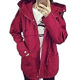 「ReiRei」レイレイレディースドルマンフード モッズコートジャケットジップアップフライトジャケット カジュアル ファッションミリタリーアウター (2XL, レッド)