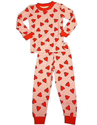 Sara'S Prints - Big Girls' Long Sleeve Long John Heart Pajamas, Pink, Red 35302-10