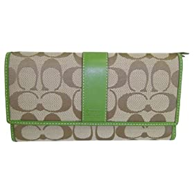 Coach Signature Khaki Green Checkbook Wallet 41878