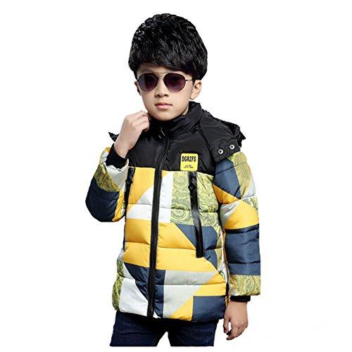 Cocominibox Ragazzi fumetto dei capretti staccabile con cappuccio Color Block rivestimento del cappotto caldo (3-4 anni / 130 cm, Giallo)