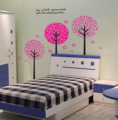 Apexshell (Tm) My Love Grow More With Passing Time Quote Pink Tree Leaves Removable High Quality Diy Decorate Wall Decal Sticker Decor For Kids, Home, Nursery Room, For Children'S Bedroom front-546602