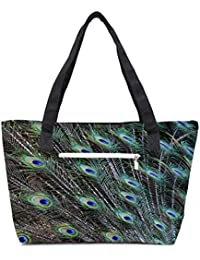 Pack Of 2 Peacock Feathers Picture Combo Tote Shopping Grocery Bag With Coin Pencil Purse