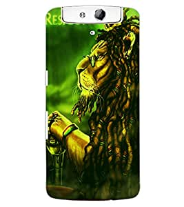 ColourCraft The Lion Look Design Back Case Cover for OPPO N1