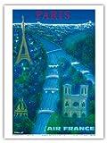 Paris - River Seine, Eiffel Tower, Notre Dame - Air France - Vintage Airline Travel Poster by Bernard Villemot c.1963 - Master Art Print - 9in x 12in