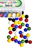 Set Of 60 Beautiful Chinese Checkers Marbles, 10 of Each Color. Excellent Quality, Portable Marble Container, Glass Game Marbles For Unlimited Hours Of Fun