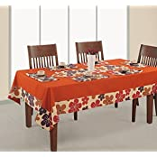 Printed And Solid Table Cover 6 Seater Square 60X90 Inch,100% Duck Cotton,RDS16-6717SP,Orange