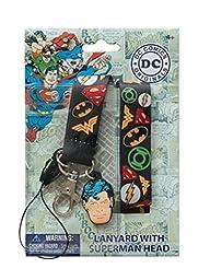 DC Comics Logos Heroes Breakaway Lanyard ID Holder Key Chain with Superman Charm