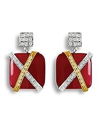 Aastha Jain Red Zade Quartz Sterling Silver Rectangle(18k Gold Plated) Earring For Women - B00MWSGVPQ
