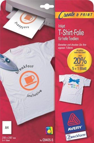 Film T-Shirt pour téxtiles claires A4 VE=6 unités Avery Zweckform C9405-5