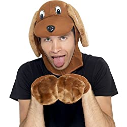 Mens Adult Party Animals Dog Kit Hood Heat & Paws Comedy Fancy Dress from Smiffys