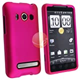 Snap-on Rubber Coated Case for HTC EVO 4G, Hot Pink