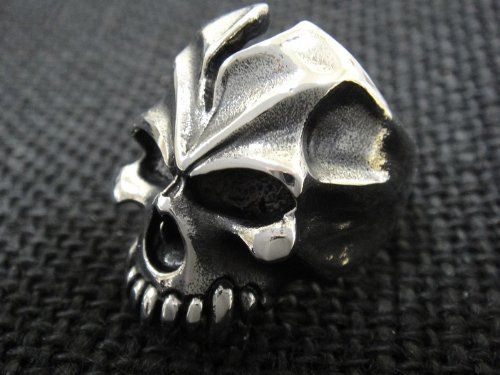 The Biker Metal 316L Stainless Steel Men's Skull Head Ring for Harley Rider Motor Biker TR-89 by Priority Mail