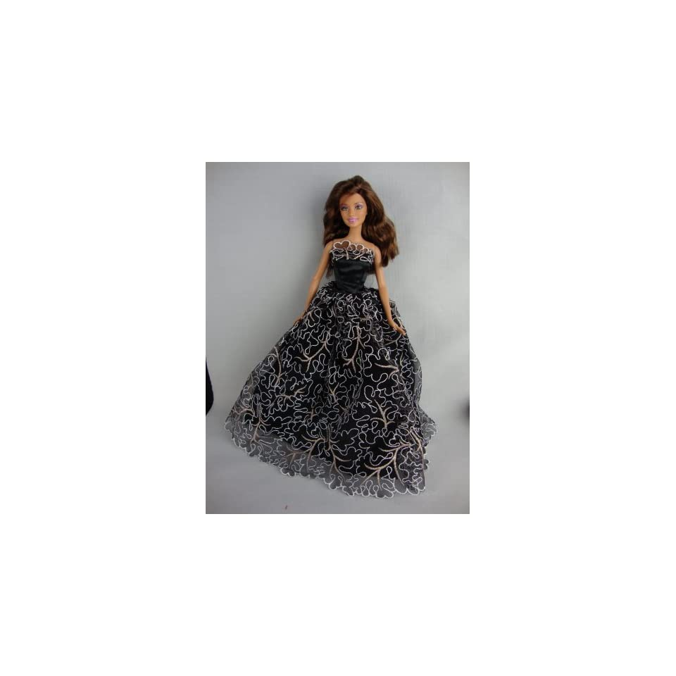 Black Ball Gown with White Lace and Gold Details Made to Fit Barbie Doll