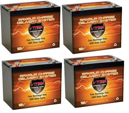 Vmaxtanks VMAXSLR125-4 AGM deep cycle 12V 500AH battery for Use with PV Solar Panel wind turbine gas or electric power backup generator or smart charger for off grid sump pump lift winch pallet jack and any other heavy duty application
