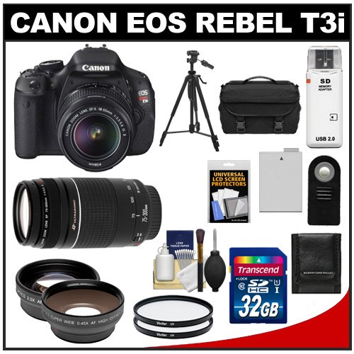 Canon Eos Rebel T3I Digital Slr Camera Body & Ef-S 18-55Mm Is Ii Lens With 75-300Mm Iii Lens + 32Gb Card + .45X Wide Angle & 2X Telephoto Lenses + Battery + Remote + (2) Filters + Tripod + Accessory Kit