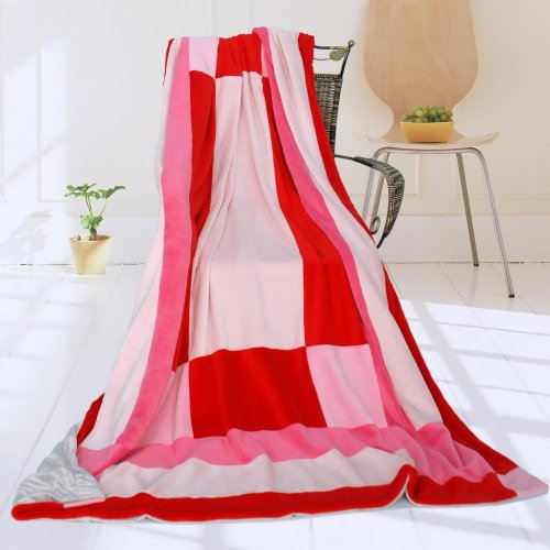 Onitiva - [Noble Rose] Soft Coral Fleece Patchwork Throw Blanket (59 By 78.7 Inches) front-556002