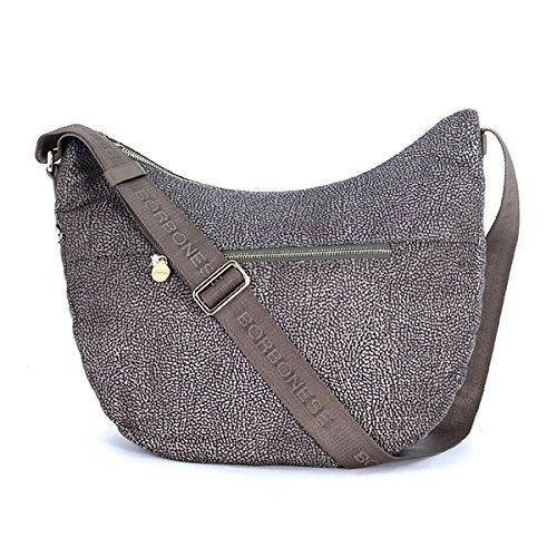 Borsa a tracolla Borbonese Luna Bag medium c/tasca in tessuto jet grigio fango