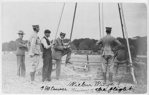 Photo Wilbur Wright and G.M. Cramer timing the flight, surrounded by U.S. Army officers, Fort Myer, Virginia 1909