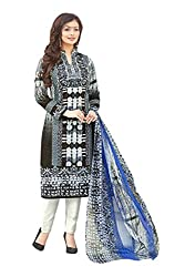 Shaily Retails Women's Bollywood Black Cotton Printed Dress Material