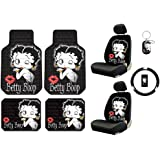 Betty Boop Timeless Design Kissy Face w/ Red Lips Front & Rear Car Truck SUV Seat Rubber Floor Mats & Low Back Bucket Seat Covers w/ Headrest Covers & Steering Wheel Cover & Key Chain- 10PC
