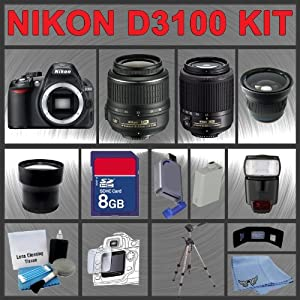 Nikon D3100 SLR 14MP Digital Camera with 18-55mm VR Lens and 55-200mm DX Lens + Huge Accessories Package Including Wide Angle Macro Lens + Telephoto Lens + 8gb SDHC Memory Card + Hi-Speed SD Card Reader + Digital Flash + Extended Life Battery + Tripod + LCD Lens Cleaner Kit + LCD Screen Protectors + Memory Card Wallet + Carrying Case + Cleaning Cloth