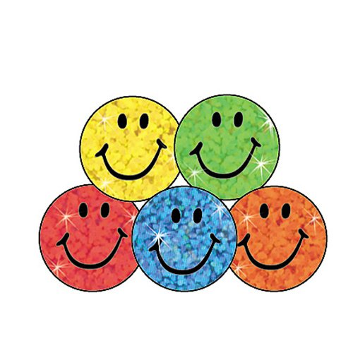 Trend Enterprises Assorted Color Sparkle Smiles Stickers, 400 per Package (T-46505)