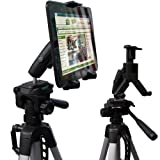 ChargerCity HDX-2 Tablet Selfie Video Camera Recording Tripod Adapter Mount w/Dual 360° Swivel Adjustment Joint & Universal Tablet holder for 7
