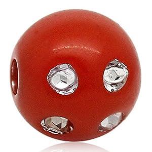 Housweety 400 Rot Acryl Spacer Perlen Kugeln Beads passt ss6 Strass 8mm D.