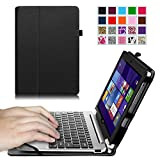 Fintie Acer Aspire Switch 10 SW5 Folio Case, 2-in-1 Premium Vegan Leather Keyboard Portfolio Stand Cover For Acer Aspire Switch 10 SW5 (SW5-012 / SW5-011) 10.1-Inch Tablet PC, Black