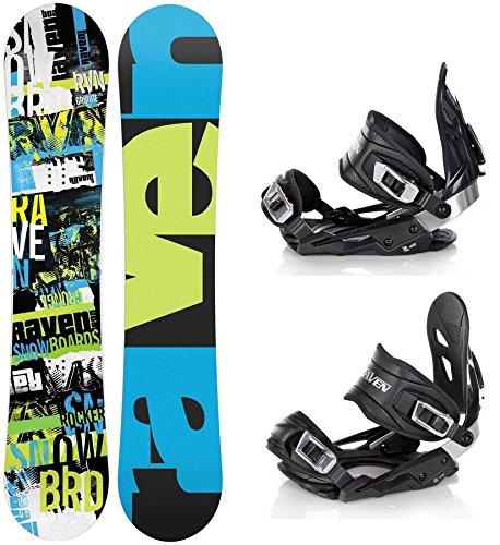Snowboard Set: Snowboard Raven Grunge Green Carbon + Bindung Raven s400 Black M/L