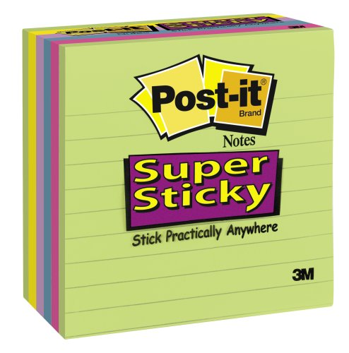 Post-it Super Sticky Lined Notes--Assorted, 3 7/8 x 3 7/8 , 90-Sheet Pad (6 Pack)