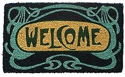 Entryways Art Deco Welcome Hand Woven Coir Doormat, 18 by 30-Inch