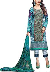 Meera Women's Cotton Unstitched Dress Material (Ess8_Blue)