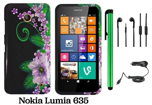 Nokia Lumia 635 (Us Carrier: T-Mobile, Metropcs, And At&T) Premium Pretty Design Protector Cover Case + Car Charger + 3.5Mm Stereo Earphones + 1 Of New Assorted Color Metal Stylus Touch Screen Pen (Black Green Pink Flower)