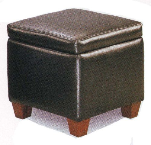 Black Faux Leather Storage Ottoman Foot Stool Hassock