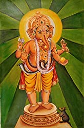Exotic India The Radiant Ganesha - Oil on Canvas - Artist- Anup Gomay