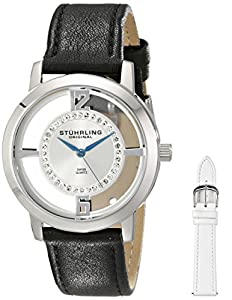 Stuhrling Original Women's 388L2.SET.01 Winchester Tiara Stainless Steel and Swarovski Crystal Watch with Additional Leather Strap