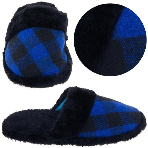 Cheap Royal Blue and Black Plaid Slippers for Women (B0075937PE)