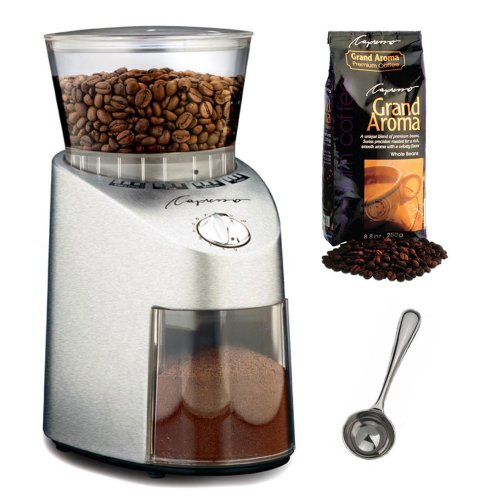Capresso 565.05 Infinity Stainless Steel Conical Burr Grinder with Grand Aroma Whole Bean Coffee (8.8oz) Swiss Roast Regular and Coffee Measure