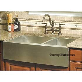 "36"" Stainless Steel Zero Radius Double Bowl Farm Apron Kitchen Sink"