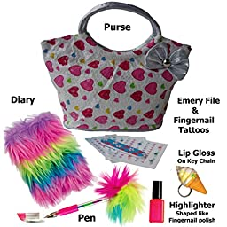 Tween Star Girl\'s Purse with Fun Accessories (Pink & Red Hearts)
